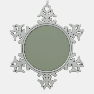 Solid Neptune Green color Snowflake Pewter Christmas Ornament