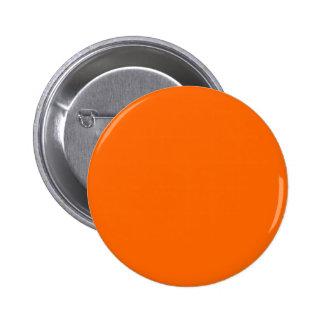 Solid Orange Background Color FF6600 Pinback Button