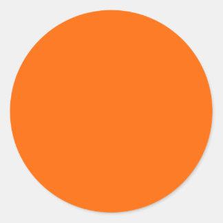 Solid Orange Background Color FF6600 Round Sticker