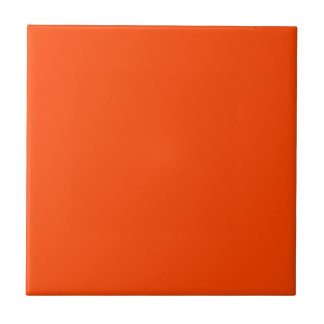 Solid Orange Red Small Square Tile