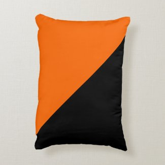 Solid Orange with Black and Orange Side Accent Pillow