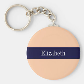 Solid Peach, Navy Blue Ribbon Name Monogram Basic Round Button Keychain