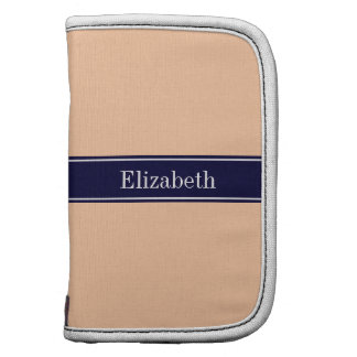 Solid Peach, Navy Blue Ribbon Name Monogram Planners
