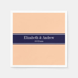Solid Peach, Navy Blue Ribbon Name Monogram Paper Napkins