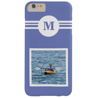 Solid perrywinkle Blue custom monogram add a photo Barely There iPhone 6 Plus Case