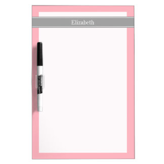 Solid Pink, Dark Gray Ribbon Name Monogram Dry Erase Board