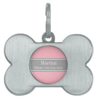 Solid Pink, Dark Gray Ribbon Name Monogram Pet Tag