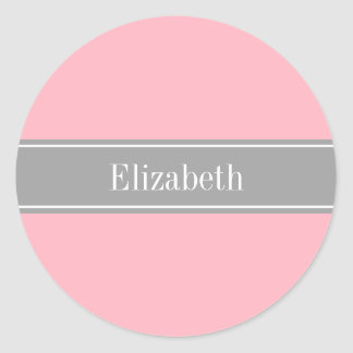 Solid Pink, Dark Gray Ribbon Name Monogram Stickers