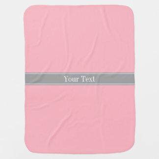Solid Pink, Dark Gray Ribbon Name Monogram Stroller Blanket