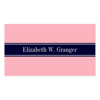 Solid Pink, Navy Blue Ribbon Name Monogram Double-Sided Standard Business Cards (Pack Of 100)