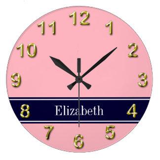 Solid Pink, Navy Blue Ribbon Name Monogram Large Clock