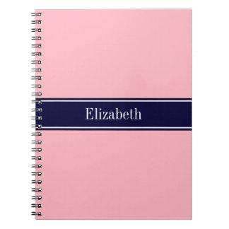 Solid Pink, Navy Blue Ribbon Name Monogram Notebooks