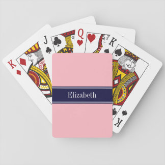 Solid Pink, Navy Blue Ribbon Name Monogram Poker Cards