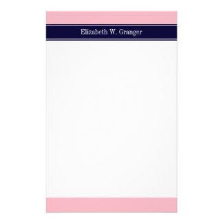 Solid Pink, Navy Blue Ribbon Name Monogram Stationery