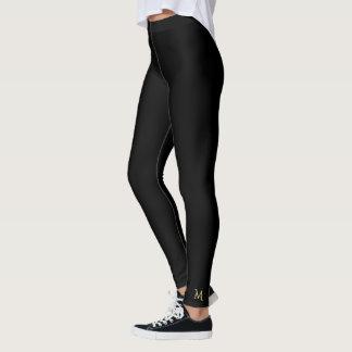 Solid Plain Black Monogram Full Length Yoga Pants