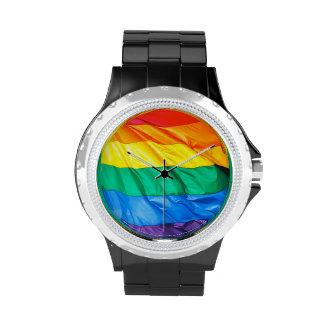 Solid Pride -Closeup of the Gay Pride Rainbow Flag Wristwatch