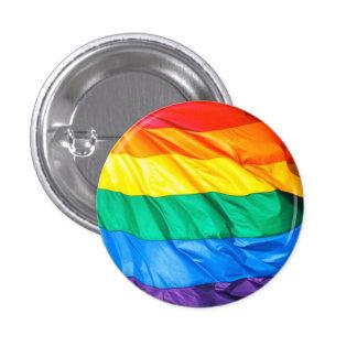 Solid Pride - Gay Pride Flag Closeup 1 Inch Round Button