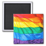 Solid Pride - Gay Pride Flag Closeup 2 Inch Square Magnet