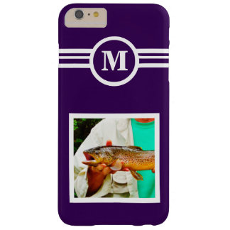 Solid Purple custom monogram initial, add a photo Barely There iPhone 6 Plus Case