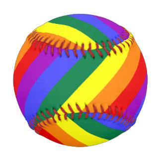 Solid Rainbow Stripe Watercolor Wash Rainbow D Baseball