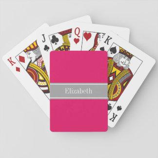 Solid Raspberry, Dark Gray Ribbon Name Monogram Playing Cards