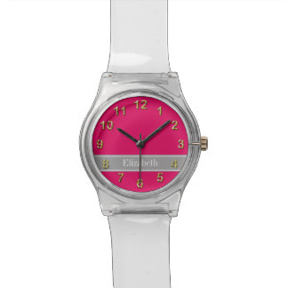 Solid Raspberry, Dark Gray Ribbon Name Monogram Watch