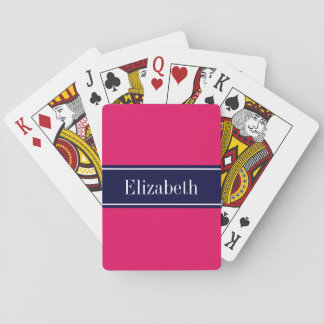 Solid Raspberry, Navy Blue Ribbon Name Monogram Playing Cards