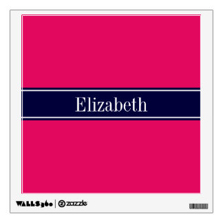 Solid Raspberry, Navy Blue Ribbon Name Monogram Wall Decal