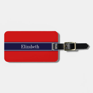 Solid Red, Navy Blue Ribbon Name Monogram Bag Tag
