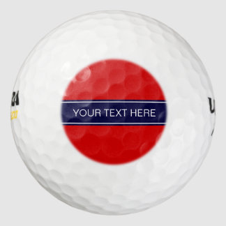 Solid Red, Navy Blue Ribbon Name Monogram Golf Balls