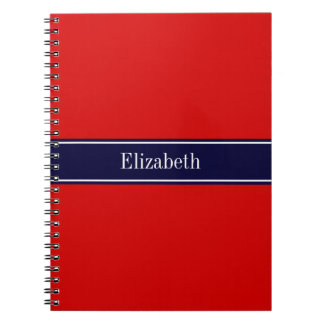 Solid Red, Navy Blue Ribbon Name Monogram Notebook
