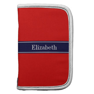 Solid Red, Navy Blue Ribbon Name Monogram Planners