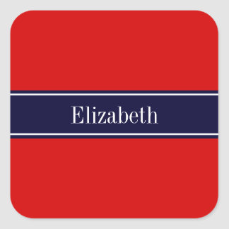 Solid Red, Navy Blue Ribbon Name Monogram Square Sticker