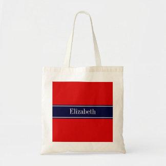 Solid Red, Navy Blue Ribbon Name Monogram Tote Bag