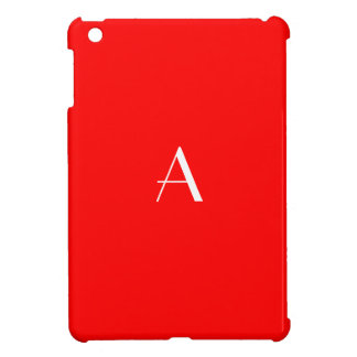 Solid Red w/ White Monogram iPad Mini Case