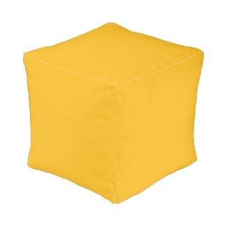 Solid Saffron Yellow / Gold Cube Pouf