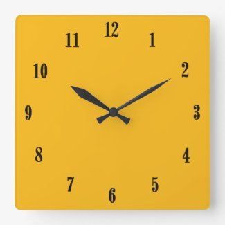 Solid Saffron Yellow / Gold with Black Numbers Square Wallclock