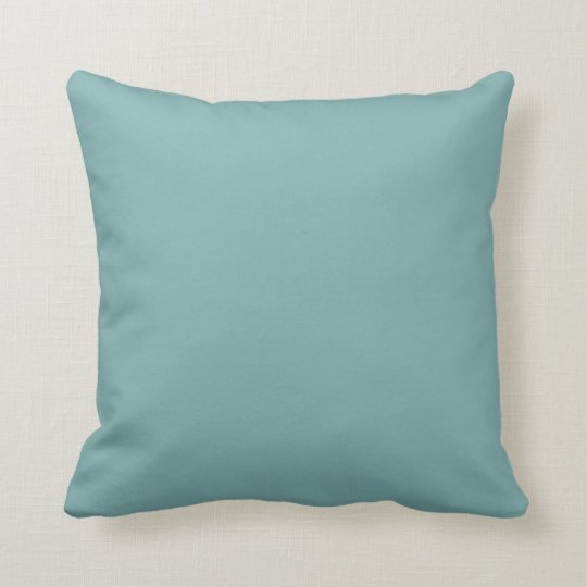 Solid Sea Glass Blue Green Pop of Color Throw Pillow