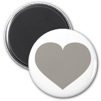 Solid silver heart 2 inch round magnet