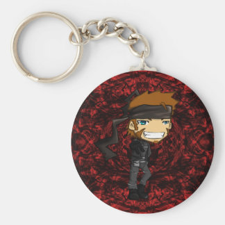 Solid Snake Peace Basic Round Button Keychain
