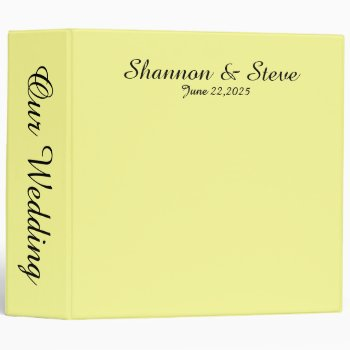Solid Soft Yellow Personal Wedding Binder