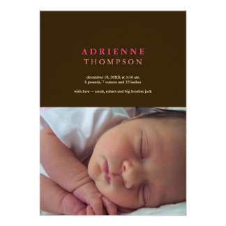 Solid sophistication brown pink photo baby birth personalized invitations