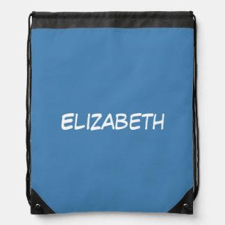 Solid Steel Blue Background, Name Monogram Drawstring Backpacks