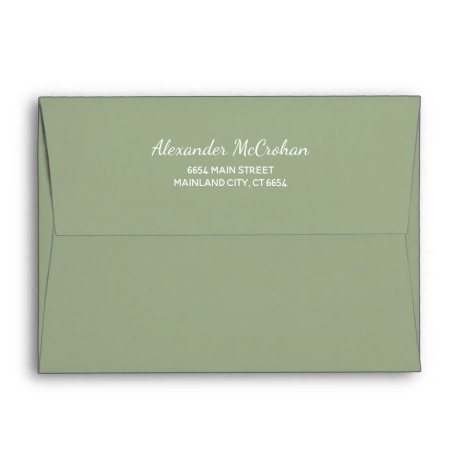 Solid Succulent Sage Green Return Address Envelope