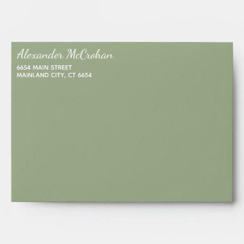 Solid Succulent Sage Green Return Address Envelope