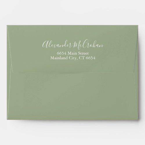 Solid Succulent Sage Green Return Address Mailing Envelope