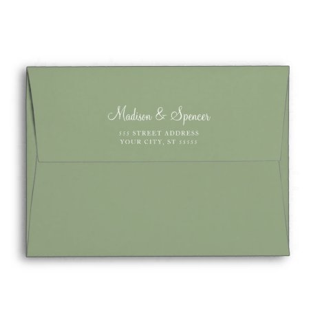 Solid Succulent Sage Green Wedding 5x7 Envelope