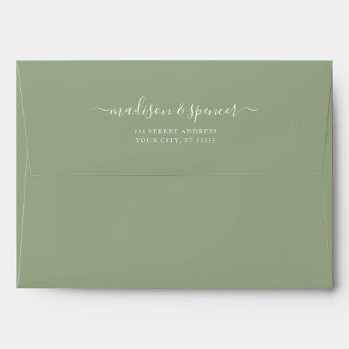 Solid Succulent Sage Green Wedding 5x7 Envelope