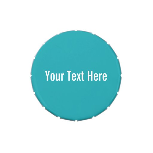 Solid Teal Blue Your Text Here Custom Candy Tin