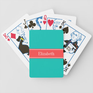 Solid Teal, Coral Red Ribbon Name Monogram Bicycle Playing Cards